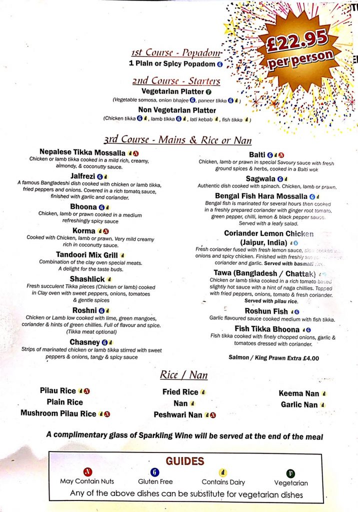 Saffron Gold New Years Eve Menu